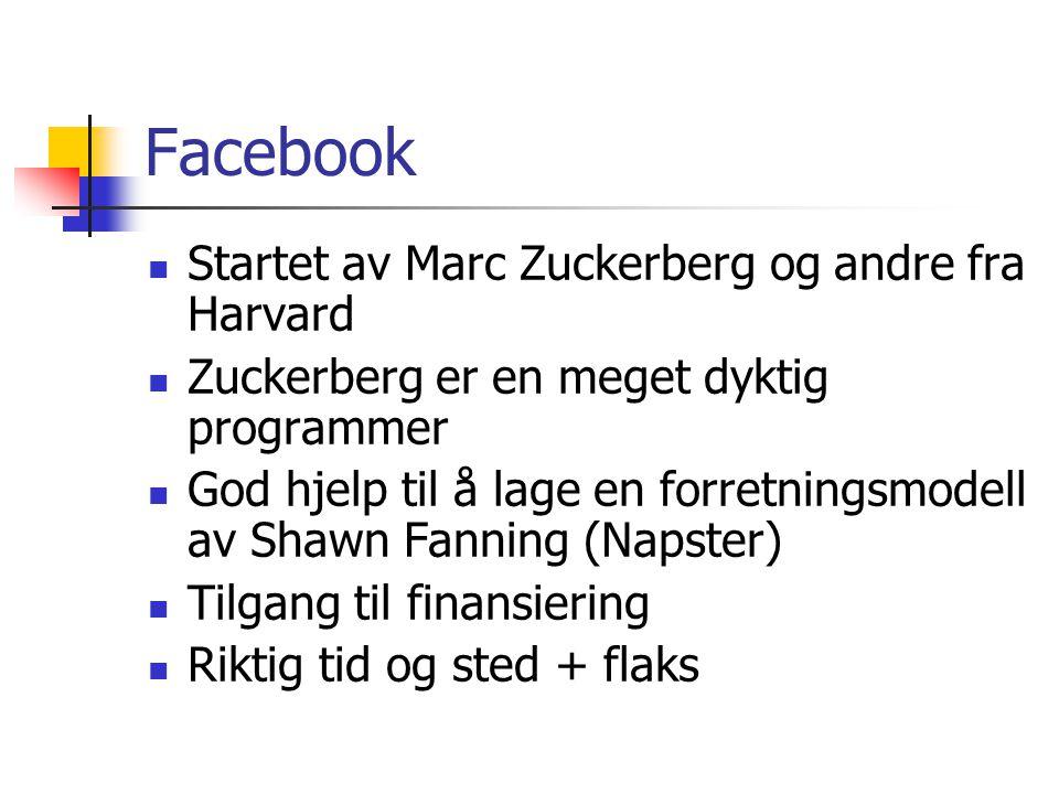 Facebook Startet av Marc Zuckerberg og andre fra Harvard Zuckerberg er en meget dyktig programmer God hjelp til å lage en forretningsmodell av Shawn F