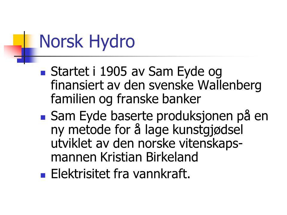 Norsk Hydro Startet i 1905 av Sam Eyde og finansiert av den svenske Wallenberg familien og franske banker Sam Eyde baserte produksjonen på en ny metod