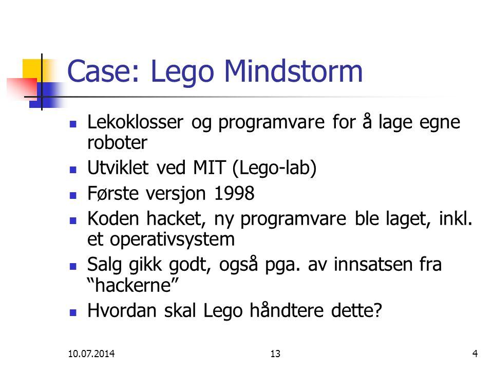 10.07.2014134 Case: Lego Mindstorm Lekoklosser og programvare for å lage egne roboter Utviklet ved MIT (Lego-lab) Første versjon 1998 Koden hacket, ny