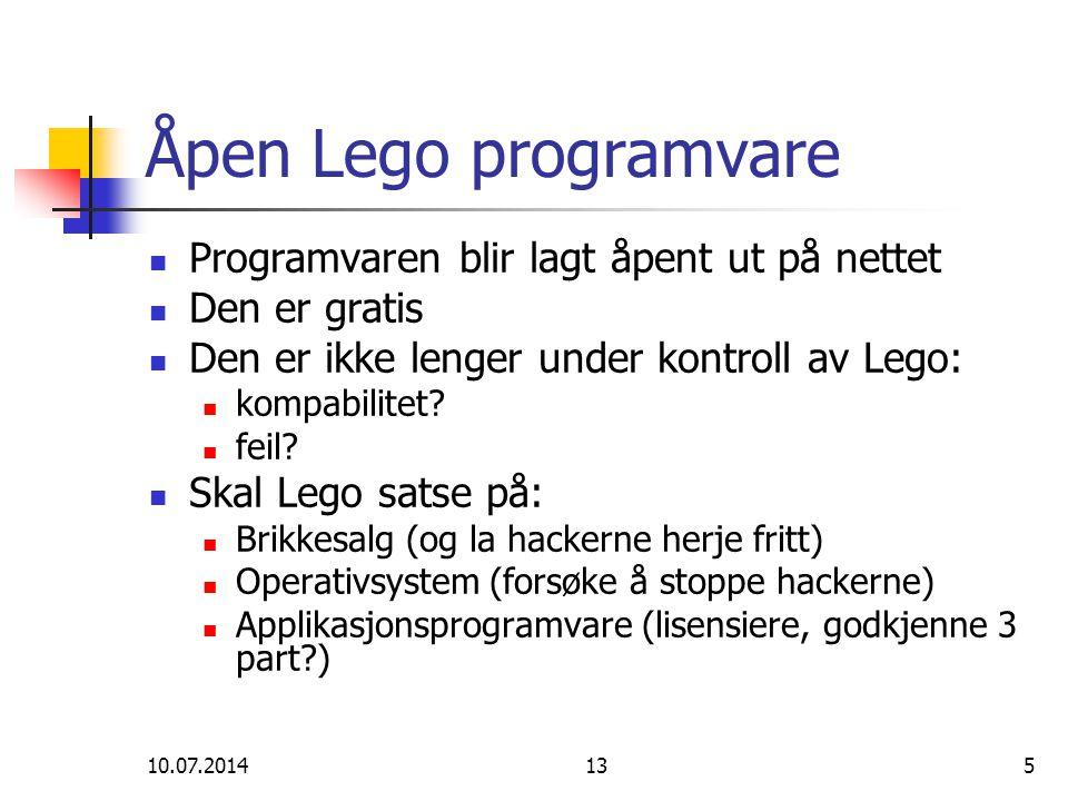 10.07.2014135 Åpen Lego programvare Programvaren blir lagt åpent ut på nettet Den er gratis Den er ikke lenger under kontroll av Lego: kompabilitet? f
