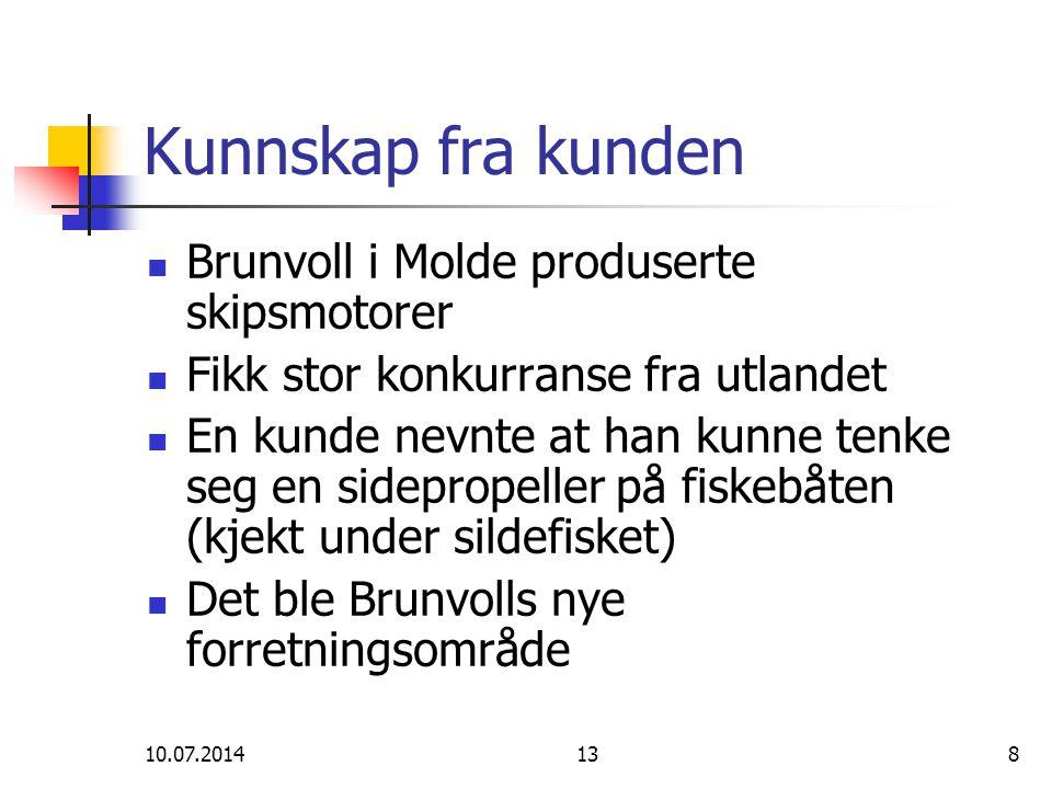 10.07.2014138 Kunnskap fra kunden Brunvoll i Molde produserte skipsmotorer Fikk stor konkurranse fra utlandet En kunde nevnte at han kunne tenke seg e