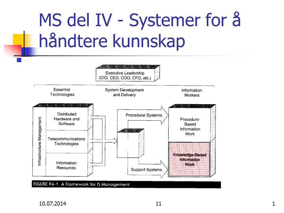 10.07.2014111 MS del IV - Systemer for å håndtere kunnskap