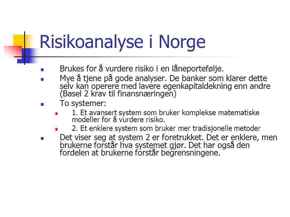 Risikoanalyse i Norge Brukes for å vurdere risiko i en låneportefølje.