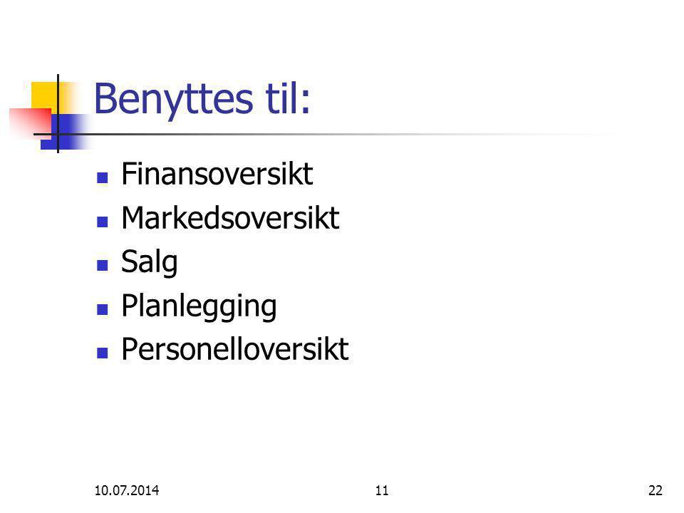 10.07.20141122 Benyttes til: Finansoversikt Markedsoversikt Salg Planlegging Personelloversikt