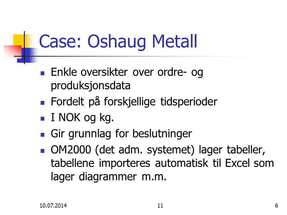 10.07.2014116 Case: Oshaug Metall Enkle oversikter over ordre- og produksjonsdata Fordelt på forskjellige tidsperioder I NOK og kg.