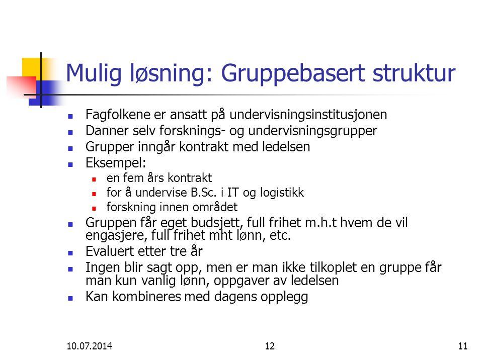 10.07.20141211 Mulig løsning: Gruppebasert struktur Fagfolkene er ansatt på undervisningsinstitusjonen Danner selv forsknings- og undervisningsgrupper