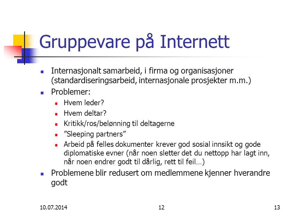 10.07.20141213 Gruppevare på Internett Internasjonalt samarbeid, i firma og organisasjoner (standardiseringsarbeid, internasjonale prosjekter m.m.) Problemer: Hvem leder.