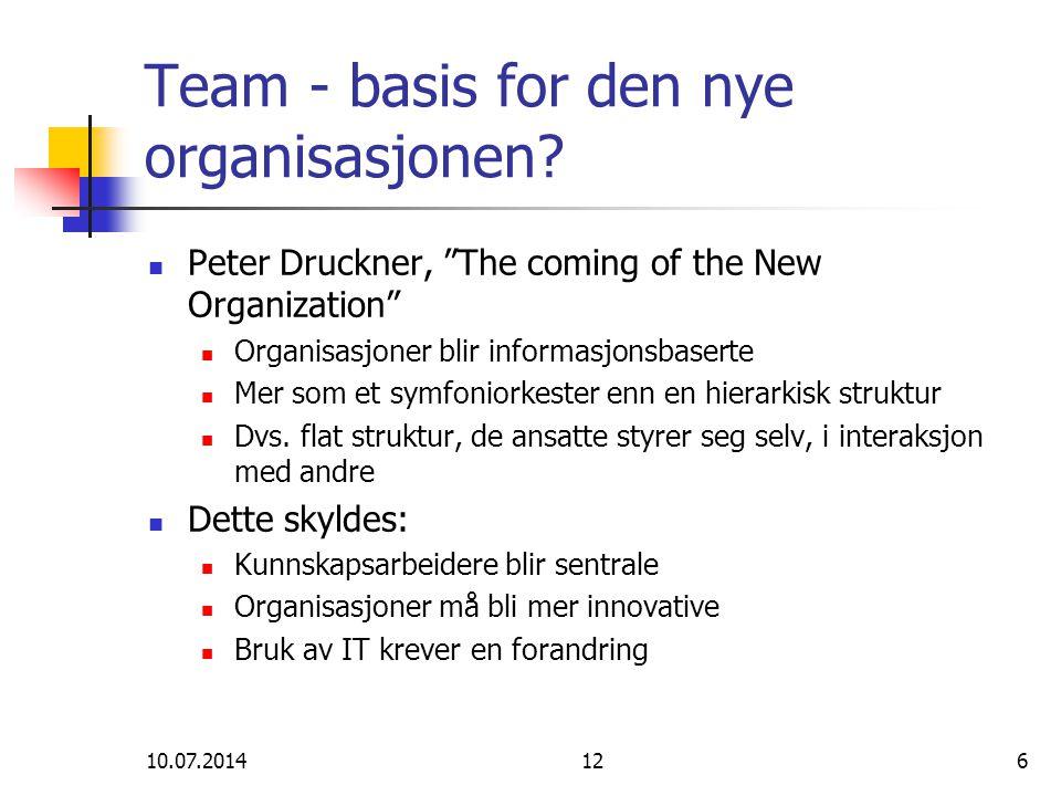 """10.07.2014126 Team - basis for den nye organisasjonen? Peter Druckner, """"The coming of the New Organization"""" Organisasjoner blir informasjonsbaserte Me"""