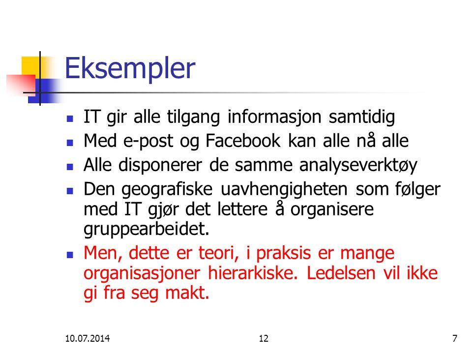 10.07.2014127 Eksempler IT gir alle tilgang informasjon samtidig Med e-post og Facebook kan alle nå alle Alle disponerer de samme analyseverktøy Den geografiske uavhengigheten som følger med IT gjør det lettere å organisere gruppearbeidet.
