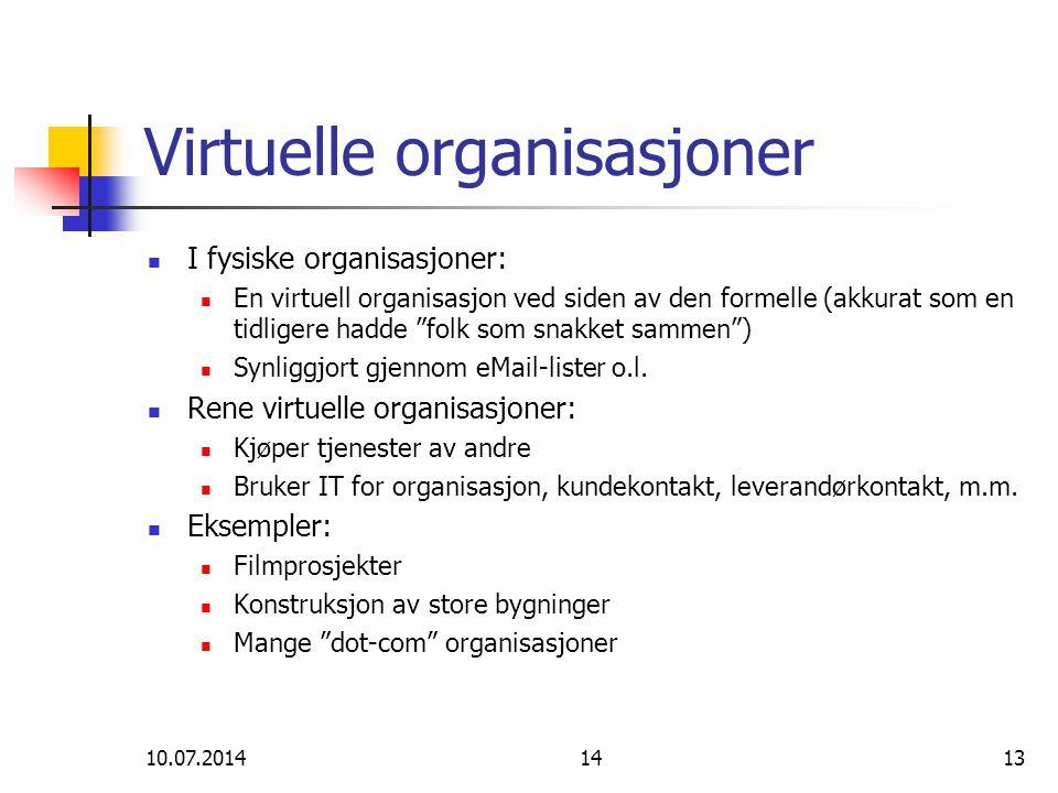 """10.07.20141413 Virtuelle organisasjoner I fysiske organisasjoner: En virtuell organisasjon ved siden av den formelle (akkurat som en tidligere hadde """""""