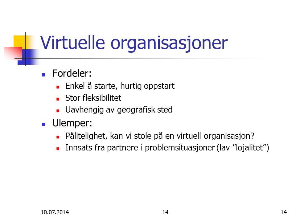 10.07.201414 Virtuelle organisasjoner Fordeler: Enkel å starte, hurtig oppstart Stor fleksibilitet Uavhengig av geografisk sted Ulemper: Pålitelighet,