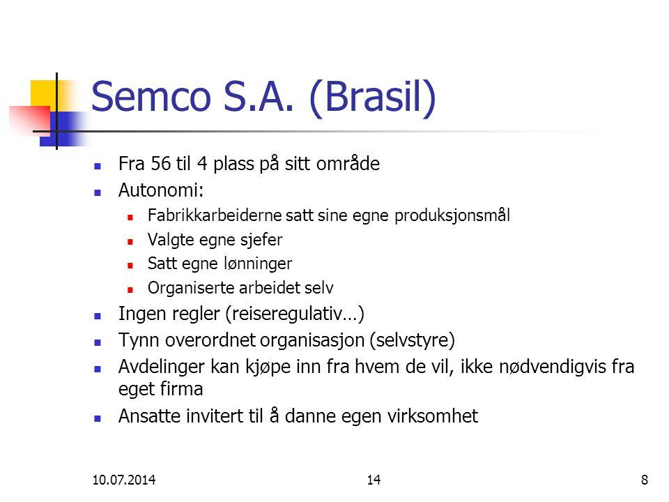 10.07.2014148 Semco S.A. (Brasil) Fra 56 til 4 plass på sitt område Autonomi: Fabrikkarbeiderne satt sine egne produksjonsmål Valgte egne sjefer Satt