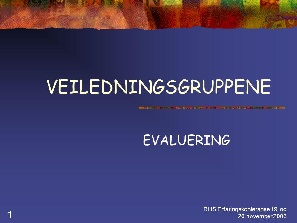 RHS Erfaringskonferanse 19. og 20.november 2003 1 VEILEDNINGSGRUPPENE EVALUERING