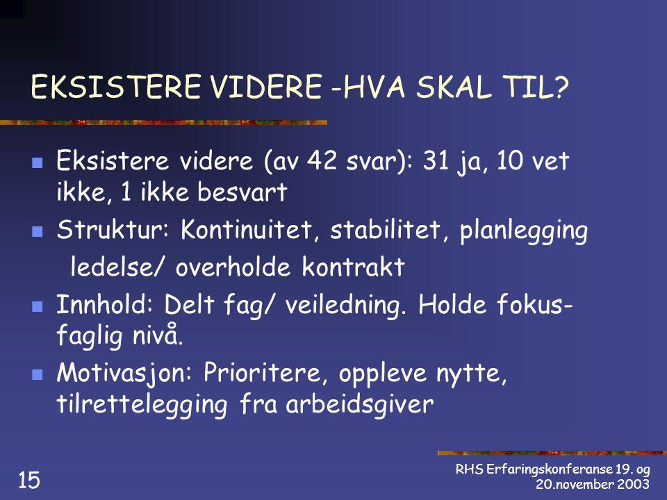 RHS Erfaringskonferanse 19. og 20.november 2003 15 EKSISTERE VIDERE -HVA SKAL TIL.