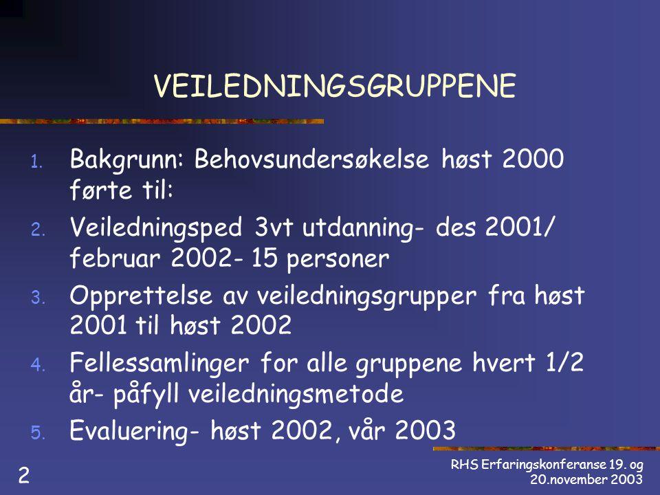 RHS Erfaringskonferanse 19. og 20.november 2003 2 VEILEDNINGSGRUPPENE 1.
