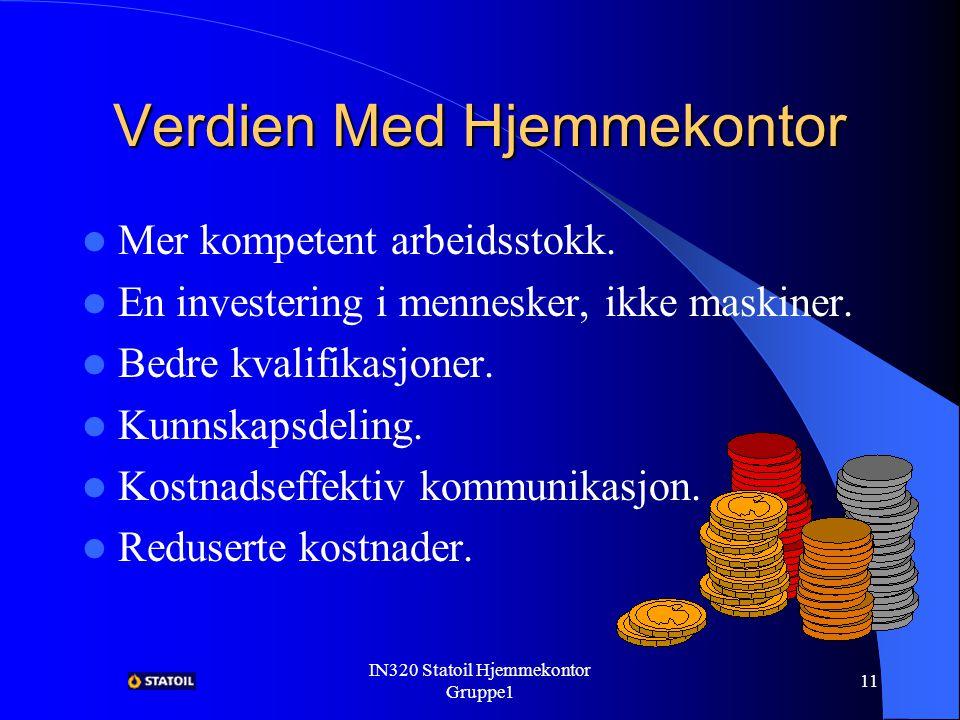 IN320 Statoil Hjemmekontor Gruppe1 10 Verdien Med Hjemmekontor Mer synlighet fører til; – Bedre motivasjon.