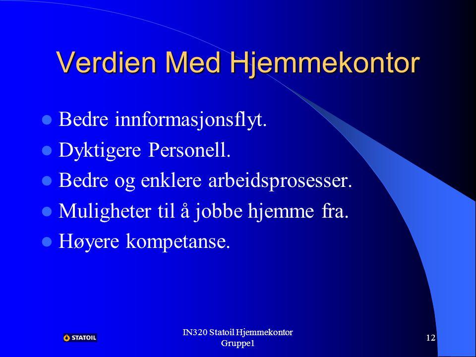 IN320 Statoil Hjemmekontor Gruppe1 11 Verdien Med Hjemmekontor Mer kompetent arbeidsstokk.