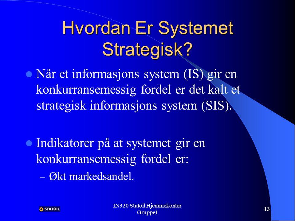 IN320 Statoil Hjemmekontor Gruppe1 12 Verdien Med Hjemmekontor Bedre innformasjonsflyt.
