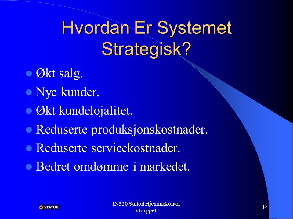 IN320 Statoil Hjemmekontor Gruppe1 13 Hvordan Er Systemet Strategisk.