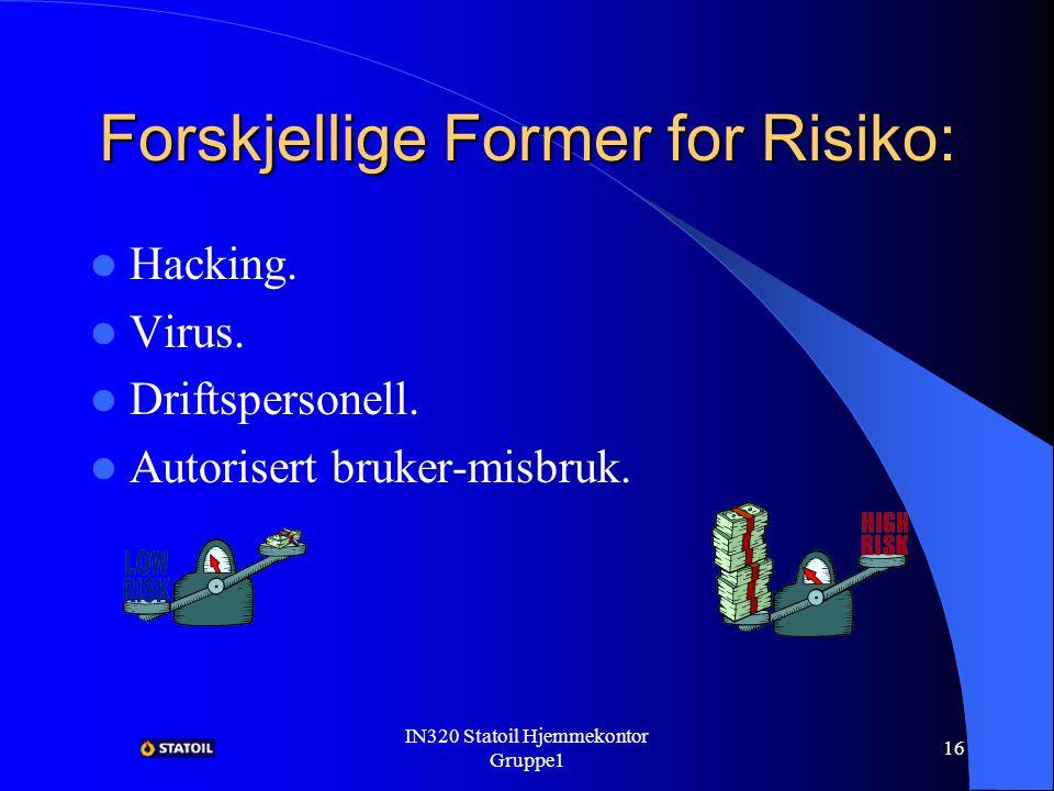 IN320 Statoil Hjemmekontor Gruppe1 15 Risiko Risiko = sjansen for at risiko oppstår * konsekvensen av at den oppstod.