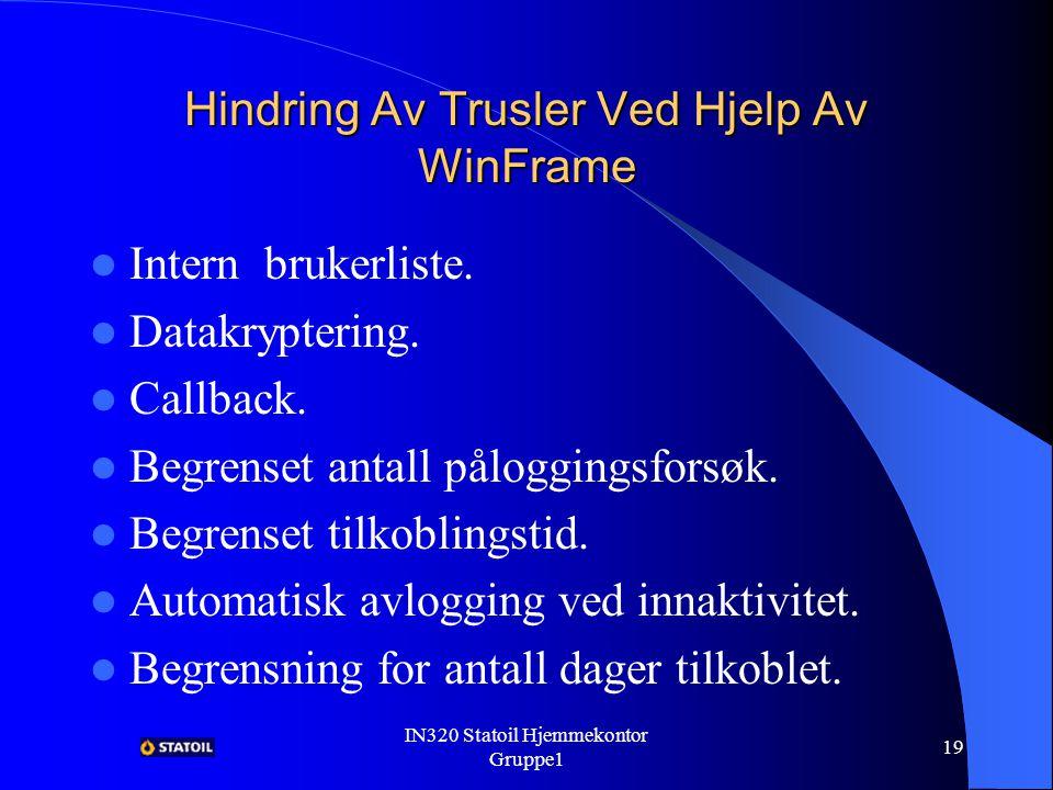 IN320 Statoil Hjemmekontor Gruppe1 18 Sikkerhet I Systemet Sikkerhet i systemet betyr å opprettholde 3 faktorer: – Hemmeligholdelse.