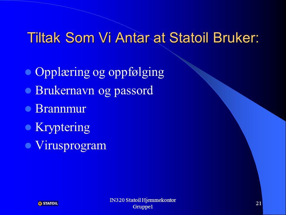IN320 Statoil Hjemmekontor Gruppe1 20 Hindring Av Trusler Ved Hjelp Av WinFrame En liste over de som har tilgang, andre får ikke tilgang.