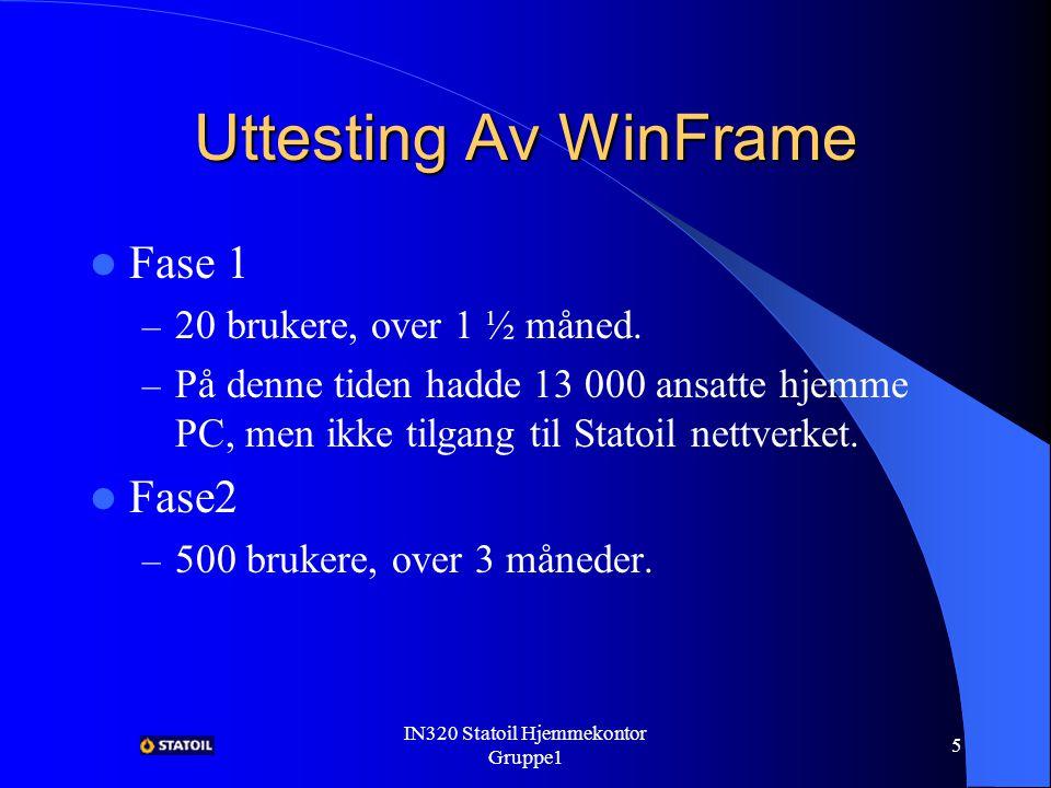 IN320 Statoil Hjemmekontor Gruppe1 4 WinFrame Fordelen med WinFrame; – Trengte ikke distribuere applikasjonene til hjemme pc`en, man legger dem på WinFrame serveren.