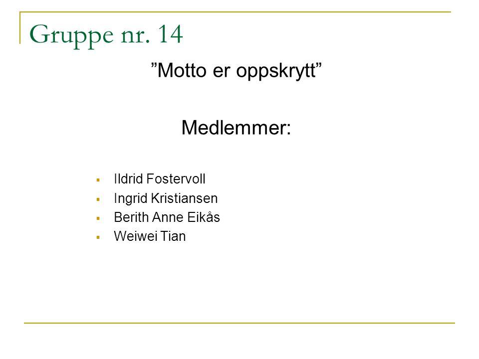 "Gruppe nr. 14 ""Motto er oppskrytt"" Medlemmer:  Ildrid Fostervoll  Ingrid Kristiansen  Berith Anne Eikås  Weiwei Tian"