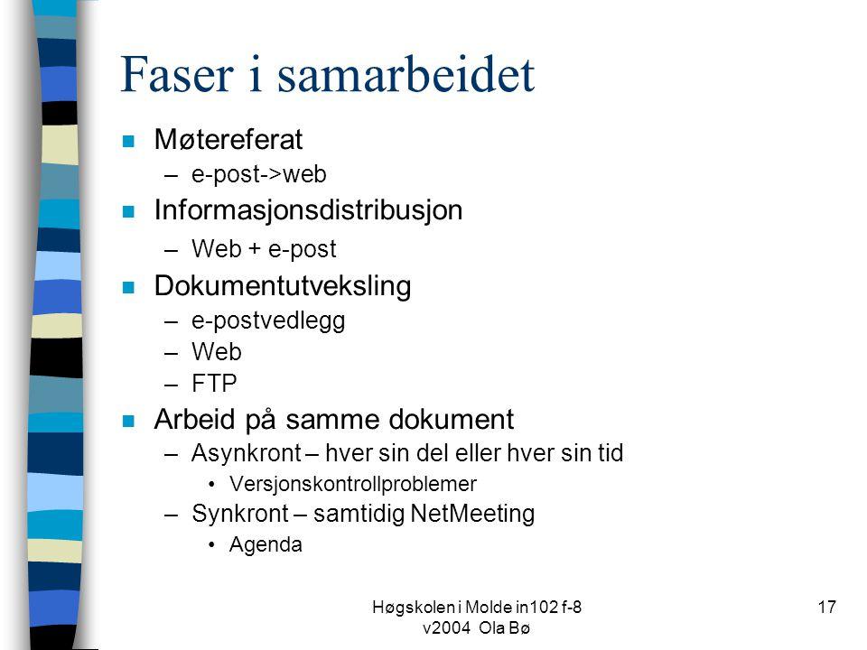 Høgskolen i Molde in102 f-8 v2004 Ola Bø 17 Faser i samarbeidet n Møtereferat –e-post->web n Informasjonsdistribusjon –Web + e-post n Dokumentutveksling –e-postvedlegg –Web –FTP n Arbeid på samme dokument –Asynkront – hver sin del eller hver sin tid Versjonskontrollproblemer –Synkront – samtidig NetMeeting Agenda