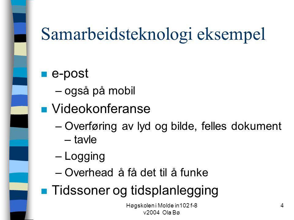 Høgskolen i Molde in102 f-8 v2004 Ola Bø 4 Samarbeidsteknologi eksempel n e-post –også på mobil n Videokonferanse –Overføring av lyd og bilde, felles dokument – tavle –Logging –Overhead å få det til å funke n Tidssoner og tidsplanlegging