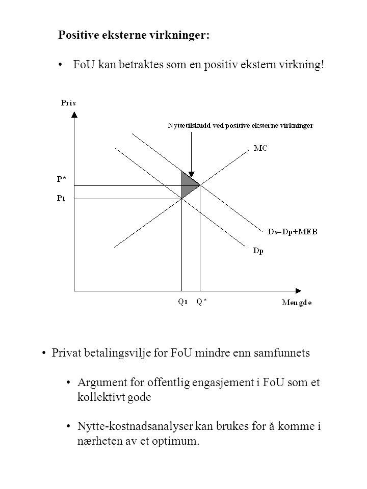 Positive eksterne virkninger: FoU kan betraktes som en positiv ekstern virkning! Privat betalingsvilje for FoU mindre enn samfunnets Argument for offe