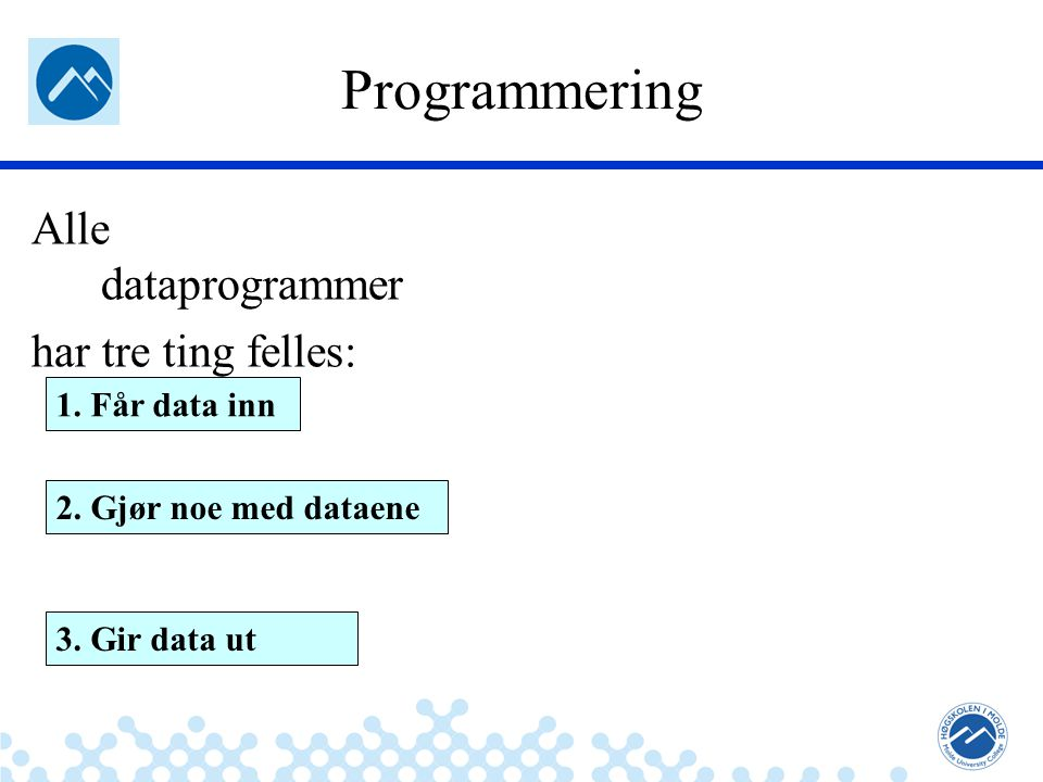 Jæger: Robuste og sikre systemer Programmering Alle dataprogrammer har tre ting felles: 1. Får data inn 2. Gjør noe med dataene 3. Gir data ut