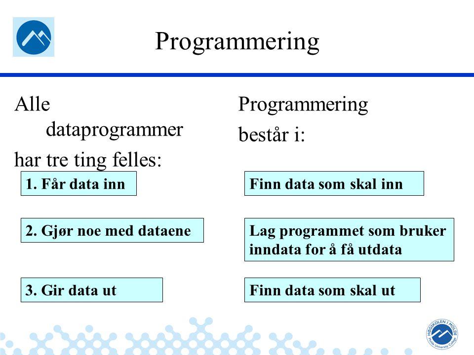 Jæger: Robuste og sikre systemer Programmering Alle dataprogrammer har tre ting felles: 1. Får data inn 2. Gjør noe med dataene 3. Gir data ut Program