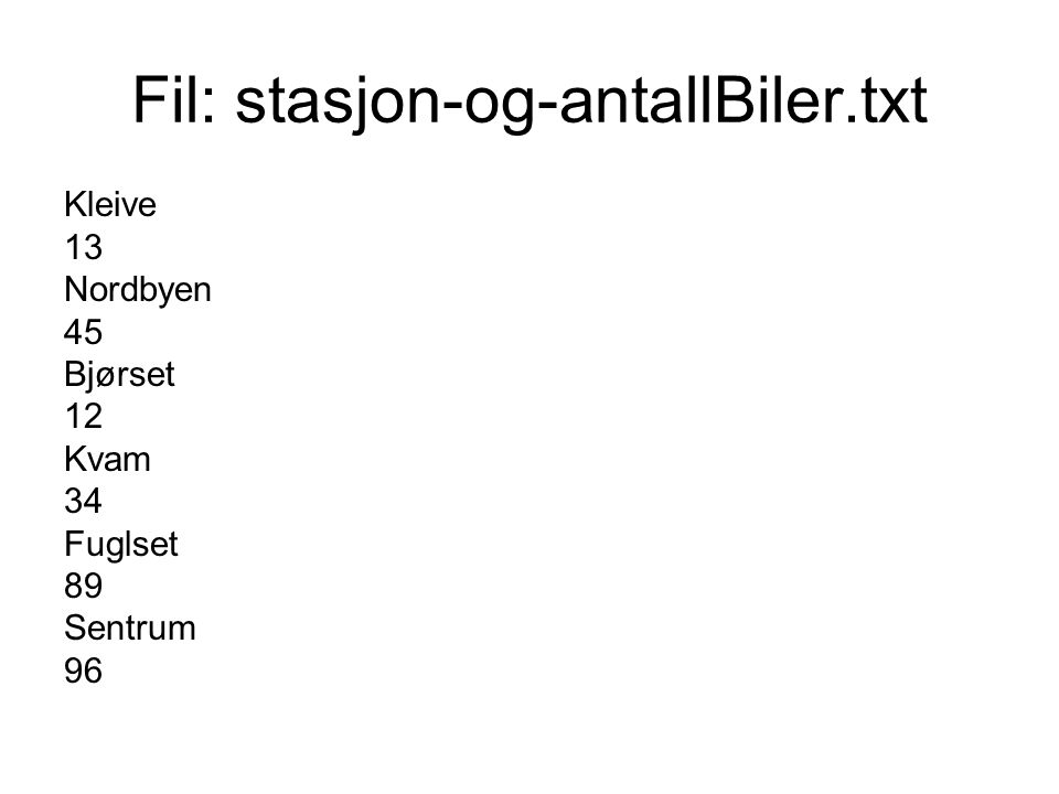 Fil: stasjon-og-antallBiler.txt Kleive 13 Nordbyen 45 Bjørset 12 Kvam 34 Fuglset 89 Sentrum 96
