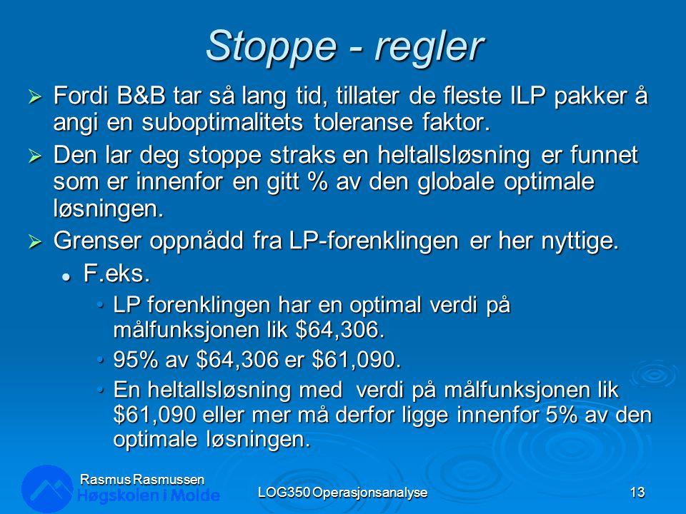 Stoppe - regler  Fordi B&B tar så lang tid, tillater de fleste ILP pakker å angi en suboptimalitets toleranse faktor.