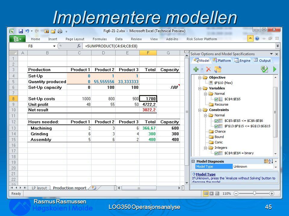 Implementere modellen LOG350 Operasjonsanalyse45 Rasmus Rasmussen