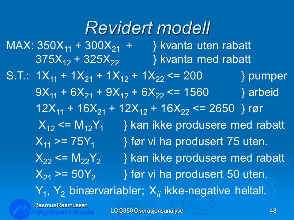 Revidert modell LOG350 Operasjonsanalyse48 Rasmus Rasmussen MAX: 350X 11 + 300X 21 + } kvanta uten rabatt 375X 12 + 325X 22 } kvanta med rabatt S.T.:1X 11 + 1X 21 + 1X 12 + 1X 22 <= 200} pumper 9X 11 + 6X 21 + 9X 12 + 6X 22 <= 1560} arbeid 12X 11 + 16X 21 + 12X 12 + 16X 22 <= 2650} rør X 12 <= M 12 Y 1 } kan ikke produsere med rabatt X 11 >= 75Y 1 } før vi ha produsert 75 uten.