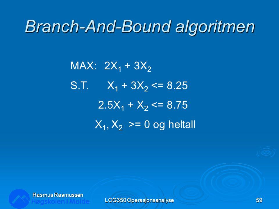 Branch-And-Bound algoritmen LOG350 Operasjonsanalyse59 Rasmus Rasmussen MAX: 2X 1 + 3X 2 S.T. X 1 + 3X 2 <= 8.25 2.5X 1 + X 2 <= 8.75 X 1, X 2 >= 0 og