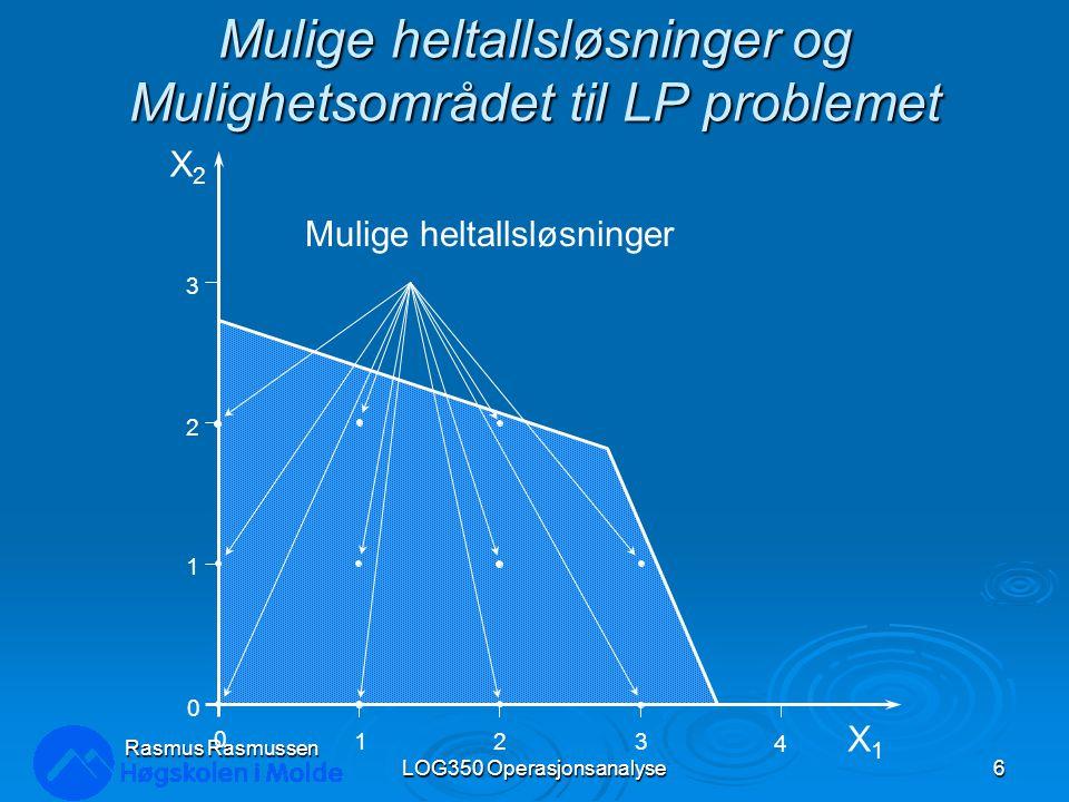 Kvantumsrabatter LOG350 Operasjonsanalyse47 Rasmus Rasmussen MAX: 350X 1 + 300X 2 } dekningsbidrag S.T.:1X 1 + 1X 2 <= 200} pumper 9X 1 + 6X 2 <= 1520} arbeid 12X 1 + 16X 2 <= 2650} rør X 1, X 2 >= 0} ikke-negativitet u Kvantumsrabatter: – Ved produksjon over 75 X 1 oppnås rabatter slik at dekningsbidraget økes til 375$ pr.