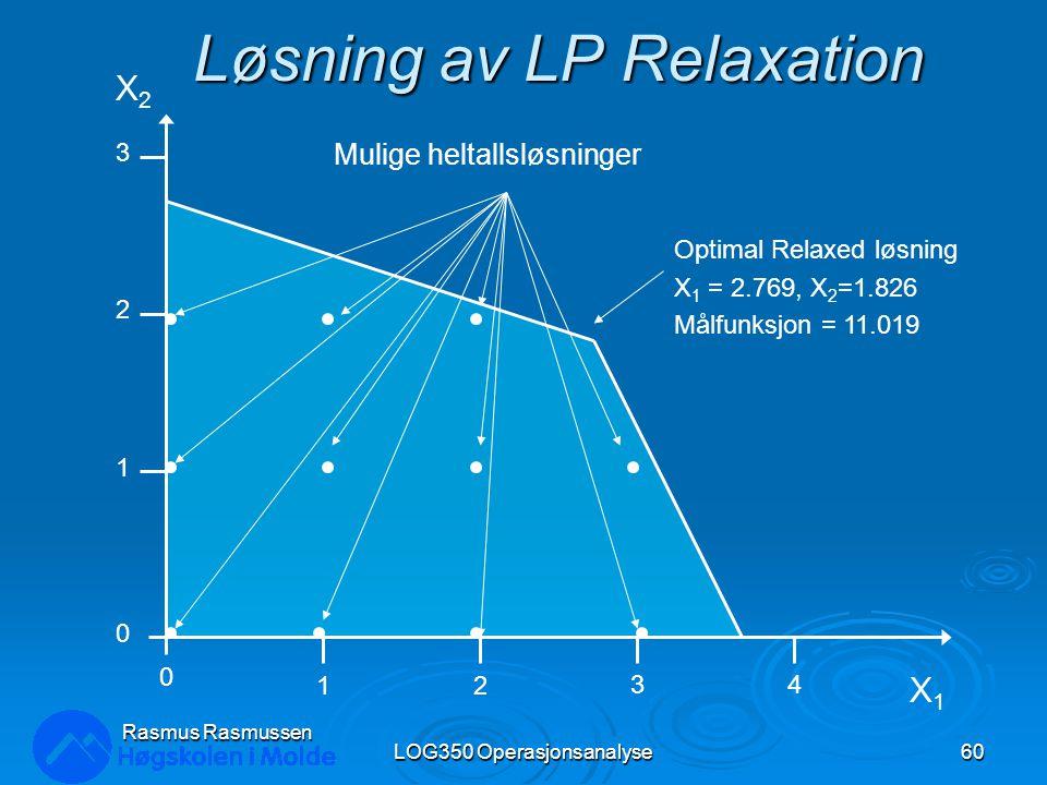 Løsning av LP Relaxation LOG350 Operasjonsanalyse60 Rasmus Rasmussen 0 1 2 3 0 12 34 X1X1 X2X2 Mulige heltallsløsninger Optimal Relaxed løsning X 1 = 2.769, X 2 =1.826 Målfunksjon = 11.019