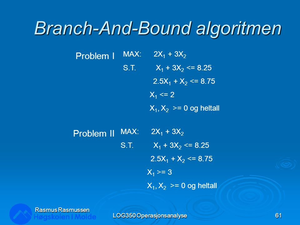 Branch-And-Bound algoritmen LOG350 Operasjonsanalyse61 Rasmus Rasmussen MAX: 2X 1 + 3X 2 S.T. X 1 + 3X 2 <= 8.25 2.5X 1 + X 2 <= 8.75 X 1 <= 2 X 1, X