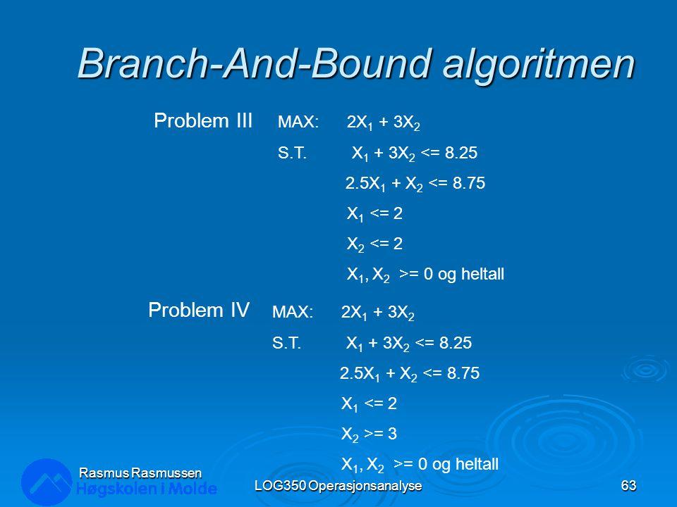 Branch-And-Bound algoritmen LOG350 Operasjonsanalyse63 Rasmus Rasmussen MAX: 2X 1 + 3X 2 S.T. X 1 + 3X 2 <= 8.25 2.5X 1 + X 2 <= 8.75 X 1 <= 2 X 2 <=