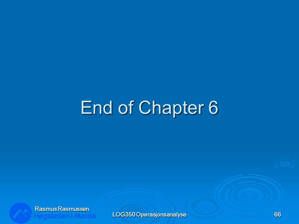 End of Chapter 6 LOG350 Operasjonsanalyse66 Rasmus Rasmussen