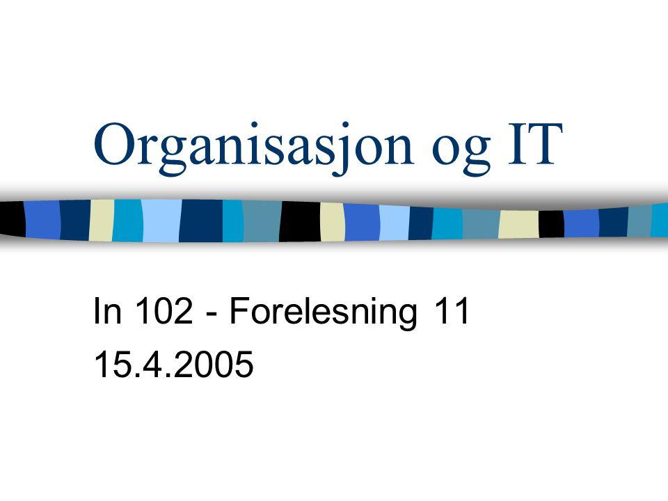 Organisasjonstyper (Minzberg) Oversikt Småbedrift Funksjonsorientert organisasjon Kunnskapsorganisasjon Divisjonsorganisasjon Ad hoc-organisasjon