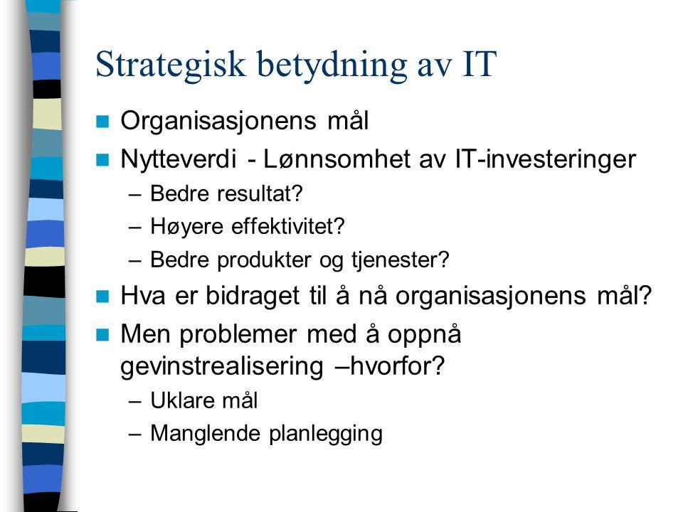 Strategisk betydning av IT Organisasjonens mål Nytteverdi - Lønnsomhet av IT-investeringer –Bedre resultat.