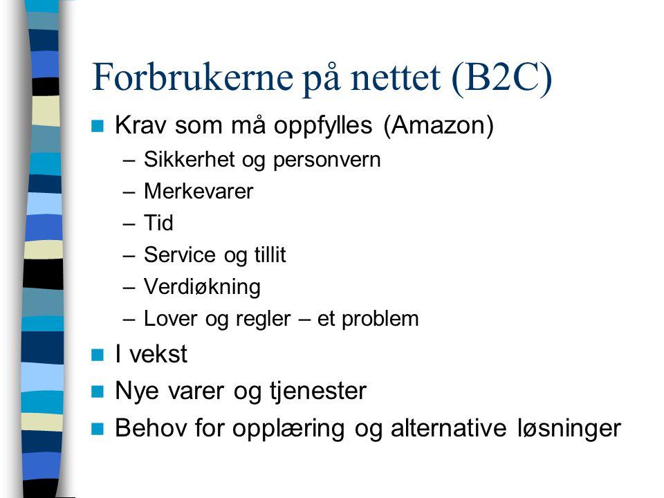 Forbrukerne på nettet (B2C) Fordeler ved netthandel –Alltid åpent –Ikke avhengig av lokal forhandler –Stort utvalg –Mye informasjon –Mulighet for god