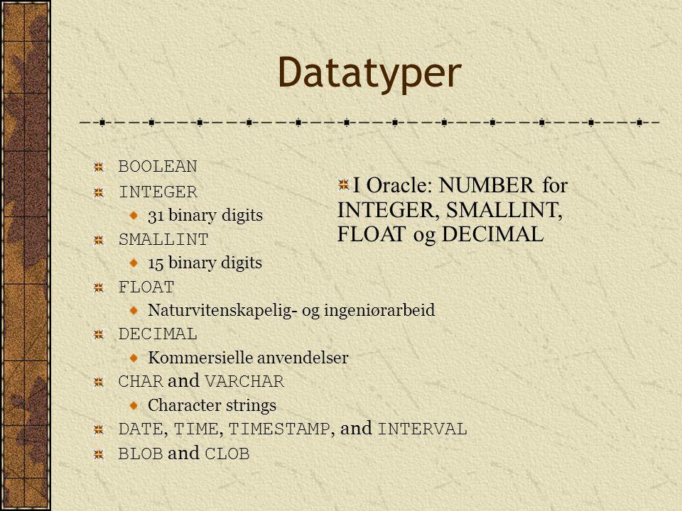 BOOLEAN INTEGER 31 binary digits SMALLINT 15 binary digits FLOAT Naturvitenskapelig- og ingeniørarbeid DECIMAL Kommersielle anvendelser CHAR and VARCH