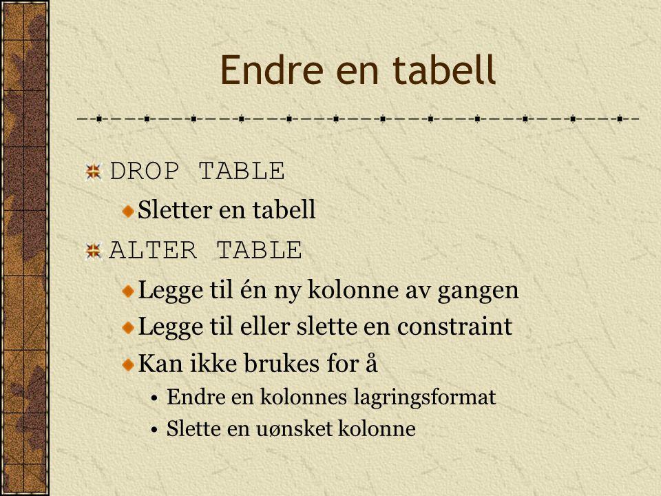 Endre en tabell DROP TABLE Sletter en tabell ALTER TABLE Legge til én ny kolonne av gangen Legge til eller slette en constraint Kan ikke brukes for å