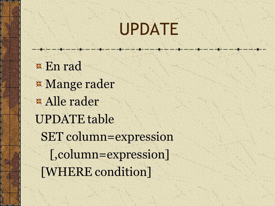 UPDATE En rad Mange rader Alle rader UPDATE table SET column=expression [,column=expression] [WHERE condition]