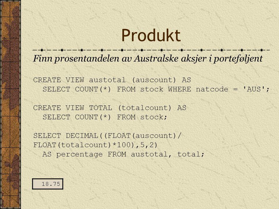 Produkt Finn prosentandelen av Australske aksjer i porteføljent CREATE VIEW austotal (auscount) AS SELECT COUNT(*) FROM stock WHERE natcode = 'AUS'; C